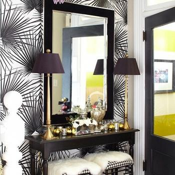 Meredith Heron Design - dens/libraries/offices - purple, red, beaded, chandelier, black, white, wallpaper, slim, black, console, table, gold, buffet, lamps, black, faux bamboo, ottomans, stools, black, mirror, faux bamboo stool, black bamboo stool,