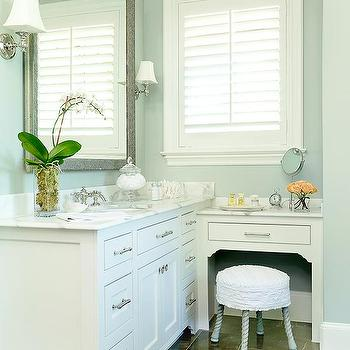 BHG - bathrooms - hammered, metal, mirror, blue, walls, extra-wide, single, bathroom, cabinet, marble, countertops, drop down, marble, top, vanity, taupe, marble, tiles, round, ruffled, vanity, stool, built in vanity, built in make up vanity,