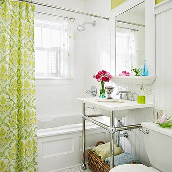 BHG - bathrooms - yellow, green, walls, beadboard, backsplash, marble, 2 leg, washstand, hexagon, tiles, floor, green, damask, shower curtain, subway tiles, shower surround, green, blue, stripe, bath, mat, beadboard backsplash, beadboard bathroom, bathroom beadboard, white beadboard, white beadboard backsplash, beadboard backsplash, beadboard bathroom, bathroom beadboard, white beadboard, white beadboard backsplash, white beadboard bathroom,