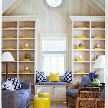 Traditional Home - dens/libraries/offices - cathedral ceiling, built-in, window seat, blue, yellow, pillows, blue, sofa, woven, chairs, blue, cushions, built-ins, yellow accents, yellow living room accents, living room with yellow accents, yellow room accents, yellow room accessories, Yellow Garden Stool,