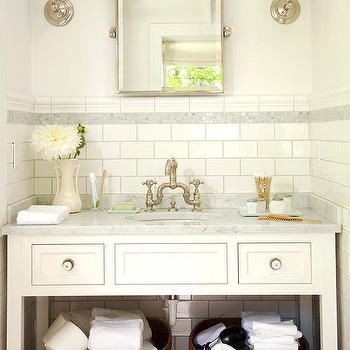 Subway Tile Backsplash, Cottage, bathroom, BHG