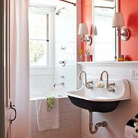 Traditional Home - bathrooms - Benjamin Moore - Tangerine Dream - tangerine, orange, walls, inset, medicine cabinet, white, blue, stripe, bath mat, rug, subway tiles, shower surround,