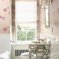 BHG - bathrooms - metallic, peony, wallpaper, pencil rail, subway tiles, backsplash, marble 2 leg, washstand, marble, hexagon, tiles, floor, Restoration Hardware Inset Medicine Cabinet,