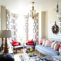 Meredith Heron Design - living rooms - acrylic, lucite, tables, baby blue, sofa, pink, pillows, navy blue, chairs, red, pillows, bay windows, vintage, gold, faux bamboo, chandelier, pendant, gray french settee, velvet settee, gray velvet settee, gray velvet french settee,