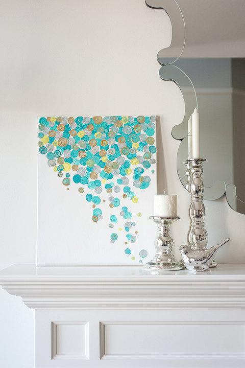Art/Wall Decor - 16x20 Canvas Painting Confetti Turquoise by luluanddrew on Etsy - canvas painting, confetti, turquoise