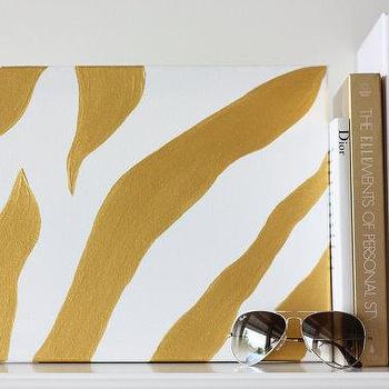 Art/Wall Decor - 11x14 Canvas Painting Zebra Golden by luluanddrew on Etsy - canvas, painting, zebra, golden