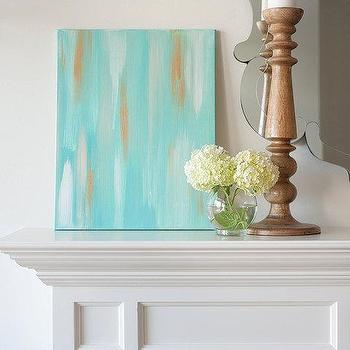 Art/Wall Decor - 16x20 Canvas Painting Ikat Turquoise by luluanddrew on Etsy - canvas, painting, ikat, turquoise