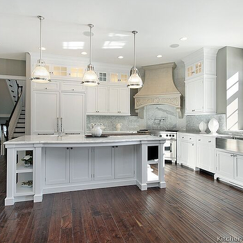 Kitchen Design Ideas - kitchens - gray, walls, white, kitchen cabinets, kitchen island, marble, countertops, marble, slab, backsplash, stainless steel, apron, sink, corner, range, pot filler, corner stove, corner range, Restoration Hardware Keynes Prism Single Pendant,