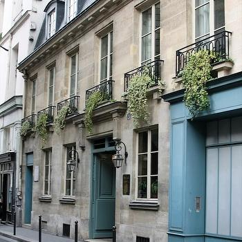 Turquoise Doors, French, home exterior, Greige Design