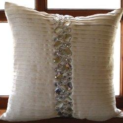 Pillows - Precious Crystals - Throw Pillow Covers - Silk Pillow Cover with Crystal Embroidery | TheHomeCentric - crystal, embroidery, pillow