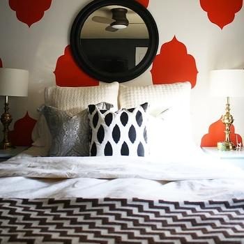 Kristen F. Davis Designs - bedrooms - red, Moroccan, silhouette, stencil, walls, round, black, beveled, mirror, brown, chevron, blanket, gray, paisley, pillow, geometric bedding, geometric bedspread, geometric blanket, chevron blanket, Furbish Black & White Fleckled Pillow,
