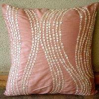 Pillows - Angelic Charm - Decorative Pillow Covers - Silk Pillow Cover with Mother Of Pearl | TheHomeCentric - pink, mother of pearls, pillow