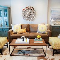 Rambling Renovators - living rooms: gray, walls, brown, modern, sofa,  Gorgeous living room with gray walls paint color, brown modern sofa with