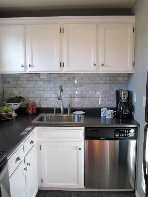 Freckles Chick - kitchens - Sherwin Williams - Sensible Hue - gray, walls, white, kitchen, cabinets, marble, subway tiles, backsplash, black, laminate, countertops, carrara marble, carrara marble subway tile, carrara marble backsplash, carrara marble backsplash tile, carrara marble kitchen, carrara marble subway tile kitchen,