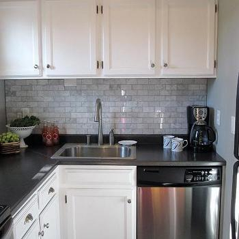 Carrara Marble Subway Tile, Transitional, kitchen, Sherwin Williams Sensible Hue, Freckles Chick