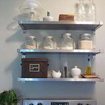 Freckles Chick - kitchens - stainless steel, gray, shelves, glass, canisters, woven, spice, basket, vintage bottles, stainless steel shelves, stainless steel floating shelves, floating shelves, floating kitchen shelves, floating stainless steel shelves, floating stainless steel kitchen shelves, floating stainless steel shelves kitchen, ikea shelves, ikea stainless steel shelves, ikea floating shelves, ikea kitchen shelves, ikea kitchen shelving, Ikea Mossby Shelf,