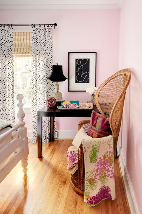 I Suwannee - bedrooms - West Elm Parsons Desk - Chocolate, pink, walls, vintage, wicker, chair, white, wood, bed, white, black, drapes, layered, bamboo, roman shades, buddha, lamp, parsons desk, black parsons desk,