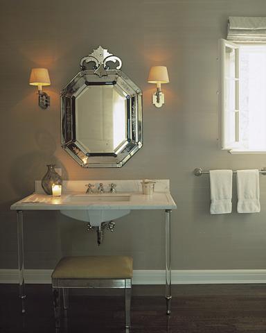 Mirrored Bench French Bathroom Ferguson And Shamamian