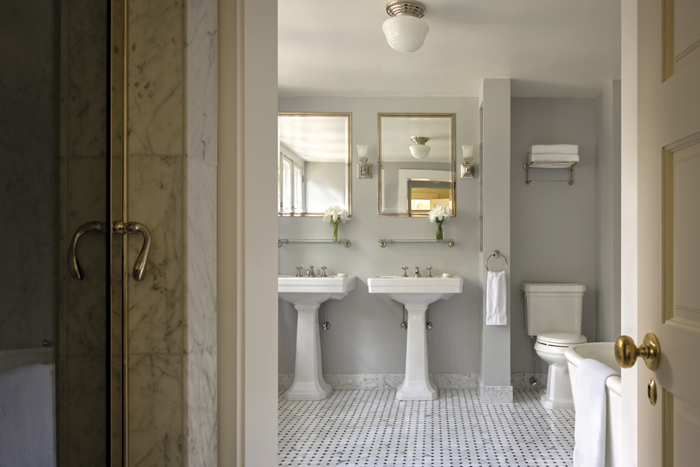 gray bathroom contemporary bathroom ferguson and shamamian