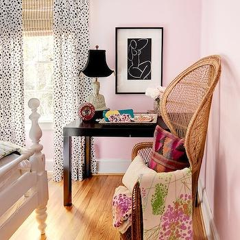 I Suwannee - bedrooms - pink, walls, vintage, wicker, chair, white, wood, bed, white, black, drapes, layered, bamboo, roman shades, buddha, lamp, parsons desk, black parsons desk, West Elm Parsons Desk - Chocolate,