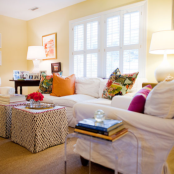 Elizabeth Newman Interior Design - living rooms: white, black, trellis, skirted, cube, ottomans, red, piping, yellow, walls, acrylic, side, table, white, slipcover, sofa, chairs, orange, fuchsia, pillows, cube ottomans, skirted ottomans, skirted cube ottomans, white slipcovered furniture,