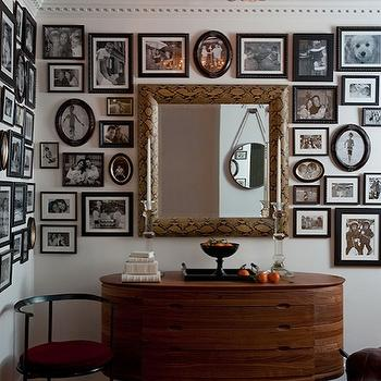 Modern Declaration - entrances/foyers - black, white, eclectic, photo gallery, oval, vintage, cabinet, console, table, gold, faux python, mirror, red, blue, rug, crustal drops, chandelier, blue, ceiling, photo walls, photo wall collage, photo wall ideas, family photo walls,