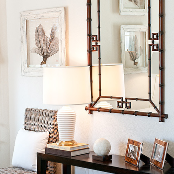 Elizabeth Newman Interior Design - entrances/foyers - espresso, stained, glossy, console, table, white, ribbed, lamp, seagrass, chair, seafan, art, white, washed, frame, bench, ottoman, bamboo mirror, sea fan, seafan, sea fan decor, seafan decor, sea fan art, seafan art, bamboo mirror, black console table, black console table, high gloss console table, trellis bench, yellow trellis bench, imperial trellis bench, Williams-Sonoma Home Hampstead Mirror, Kelly Wearstler Imperial Trellis fabric - Citrine/Ivory,