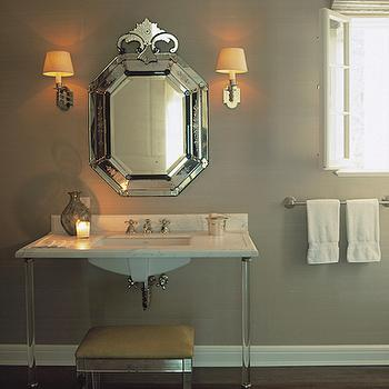 Ferguson and Shamamian - bathrooms - mirrored, stool, bench, ottoman, yellow, silk, cushion, 2 leg, lucite, marble, washstand, Venetian, mirror, gray, walls, gray bathroom, gray bathroom cabinets, gray bathroom vanity, mirrored bench, bathroom bench, mirrored bathroom bench, mirrored vanity bench, lucite vanity, lucite bathroom vanity, lucite washstand,