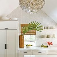 Country Living - kitchens - sloped ceiling, silver, gray, mosaic, glass tiles, backsplash, ivory, chunky, floating shelves, ivory, kitchen cabinets, kitchen island, white, quartz, countertops, orange, lattice, vase, Viva terra Lotus Flower Chandelier, Amber Cane Umbrella Stand - Ceramic Vase,