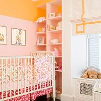 Modern Declaration - nurseries - pink, built-ins, two tone, walls, pink, orange, paint, orange, rug, white, roman shade, yellow, Greek key, ribbon, trim, pattern, pink, orange, crib bedding,