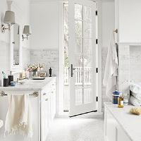 Country Living - bathrooms - marble, hexagon, tiles, floor, marble, pensil rail, marble, subway tiles, backsplash, white, walls, extra-wide, single, white, bathroom, vanity, marble, countertop, white, inset, medicine cabinet,