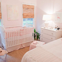 Elizabeth Newman Interior Design - nurseries - light, pink, walls, pink, crib, bedding, bamboo, roman shades, white, vintage, dresser, clear, glass, flower, knobs, white, pink, lattice, lamp, white, twin, headboard, pink, piping, pink, bolster, pillow, pink, skirted, cube, ottoman, pink, flamingo, art, Jenny Lind Crib, Philippe Starck Ghost Chair,