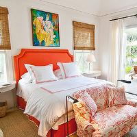 Elizabeth Newman Interior Design - bedrooms - coral, headboard, French, brass, tacks, trim, coral, bed skirt, white, trim, white, duvet, shams, coral, stitching, demilune, white, washed, nightstands, white, coral, settee,