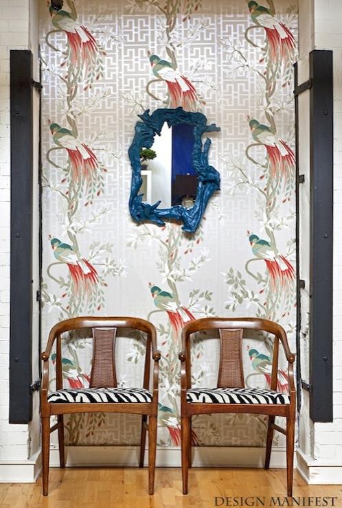 Nina campbell paradiso wallpaper eclectic living room - Nina campbell paradiso wallpaper ...