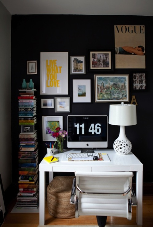 Live Creating Yourself - dens/libraries/offices - Benjamin Moore - Black Jack - HomeGoods White Lamp, Overstock Student Desk, Overstock Office Chair, West Elm Spine Bookcase, art gallery, black, accent wall,
