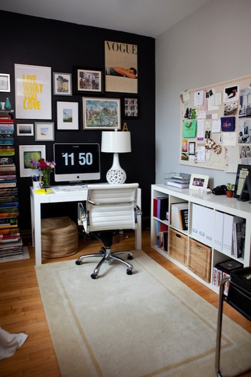 Live Creating Yourself - dens/libraries/offices - Benjamin Moore - Black Jack - HomeGoods White Lamp, Overstock Student Desk, Overstock Office Chair, West Elm Spine Bookcase, Ikea Expedit Bookcase, The Container Store Natural Cork Board, light, gray, walls, black, accent, wall,