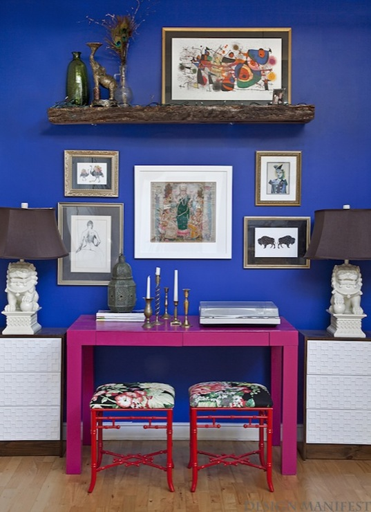 Design Manifest - dining rooms - Olympic - Brilliant Blue - Glidden Very berry, JCPenney Cindy Crawford Trellis Foot Stool, Ikea Rast 3-Drawer Chests, Foo Dog Lamp, Parsons, desk, painted, hot pink, glossy red, faux bamboo, stools, floral, fabric, fretwork, front, panel, chest, bold, blue, walls, lantern, art gallery, pink desk, foo dog lamps, white foo dog lamps, bamboo stools, red stools, red bamboo stools, overlays, chest overlays, fretwork overlays, chest overlays, cabinet overlays,