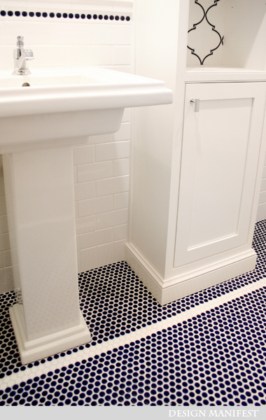 Navy Blue Penny Tiles - Contemporary - bathroom - Design Manifest