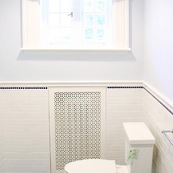 Navy Blue Penny Tiles Contemporary Bathroom Design