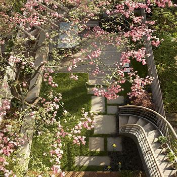 decks/patios - secret garden, curved, staircase, sakura, cherry blossoms, secret garden,  Jenna Lyons  Amazing secret garden in Brooklyn townhouse