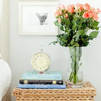 Breakfast at Toast - bedrooms - nightstand, vignette, basket nightstand, woven basket nightstand, Pottery Barn Headboard, Pottery Barn Essential Duvet & Shams, Crate & Barrel Palma Square Lidded Basket, Pottery Barn Wood Gallery Single Opening Frame, Pottery Barn Charleston Clock,