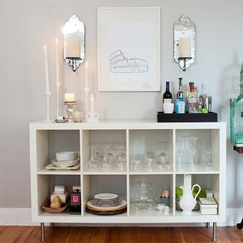 Ikea expedit Bookcase, Transitional, dining room, Behr Dolphin Fin, Live Creating Yourself