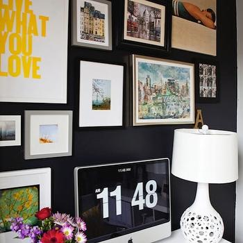 Black Walls, Contemporary, den/library/office, Benjamin Moore Black Jack, Live Creating Yourself