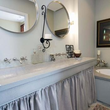 Sylvia Martin - bathrooms - gray, walls, trough, style, concrete, sink, gray, linen, skirted, double bathroom vanity, wall-mount, faucet kits, iron, accents, round, mirrors, trough sink, trough sink bathroom vanity, skirted double vanity, skirted double bathroom vanity, concrete countertops,