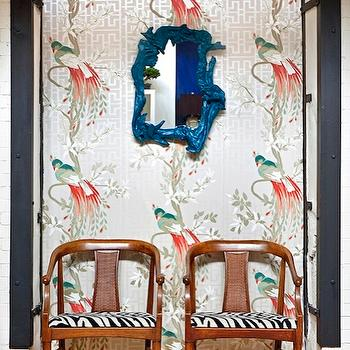 Nina Campbell Paradiso Wallpaper, Eclectic, living room, Design Manifest