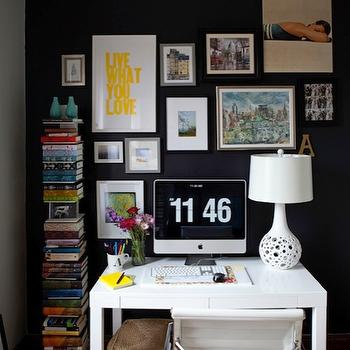Live Creating Yourself - dens/libraries/offices - art gallery, black accent wall, black walls, black paint colors, interiors black colors, interior black paint colors, art gallery wall, white parsons desk, HomeGoods White Lamp, Overstock Student Desk, Overstock Office Chair, West Elm Spine Bookcase,