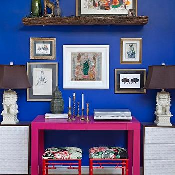 Design Manifest - dining rooms - Parsons, desk, painted, hot pink, glossy red, faux bamboo, stools, floral, fabric, fretwork, front, panel, chest, bold, blue, walls, lantern, art gallery, pink desk, foo dog lamps, white foo dog lamps, bamboo stools, red stools, red bamboo stools, overlays, chest overlays, fretwork overlays, chest overlays, cabinet overlays, Glidden Very berry, JCPenney Cindy Crawford Trellis Foot Stool, Ikea Rast 3-Drawer Chests, Foo Dog Lamp,