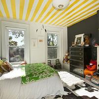 Jenna Lyons  Adorable non-pink girl's bedroom with white & yellow striped ceiling, black ...