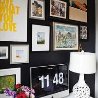 Live Creating Yourself - dens/libraries/offices - black accent wall, black walls, black paint colors, interiors black colors, interior black paint colors, art gallery wall, HomeGoods White Lamp, Overstock Student Desk,