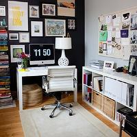 Live Creating Yourself - dens/libraries/offices - Benjamin Moore - Black Jack - black accent wall, black walls, black paint colors, interiors black colors, interior black paint colors, art gallery wall, white parsons desk, expedit, expedit bookcase,